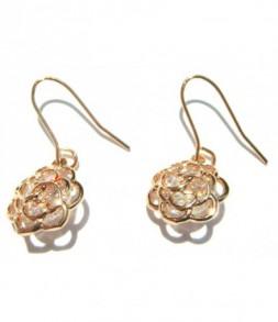 Boucles d'oreilles dorées fleur de strass