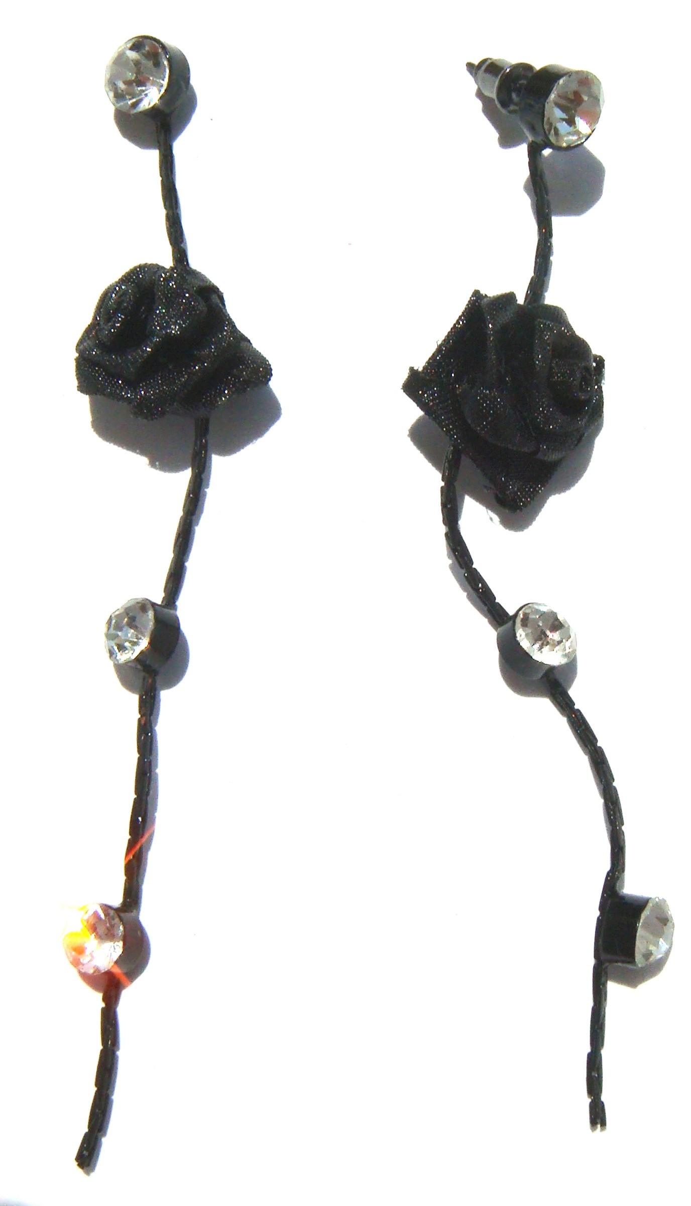 Acheter Des Roses Noires acheter pas cher boucles d'oreilles fantaisie longues roses noires
