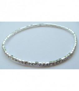 Bracelet strass élastique blanc
