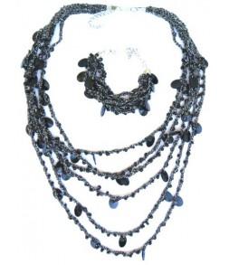 Collier et bracelet en maille et perles, anthracite