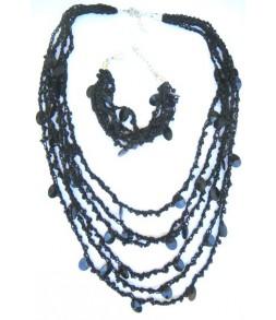 Collier et bracelet en maille et perles, noir