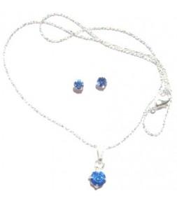 Pendentif sur chaine et boucles d'oreilles strass bleu