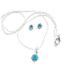 Pendentif sur chaine et boucles d'oreilles strass turquoise