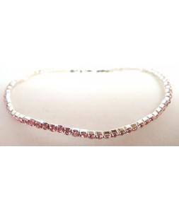 Bracelet strass élastique rose