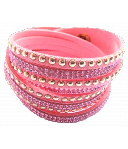 Bracelet wrap 2 tours rose douceur