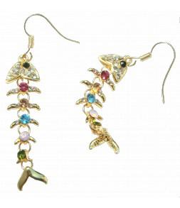 Boucles d'oreilles poissons dorés et strass couleur