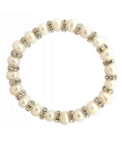 Bracelet élastique, veritables perles de culture d'eau douce blanches et strass