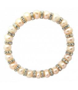 Bracelet élastique, veritables perles de culture d'eau douce rosées et strass