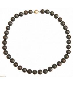 Superbe collier en véritables perles de culture d'eau douce d'Asie noires, fermoir aimant