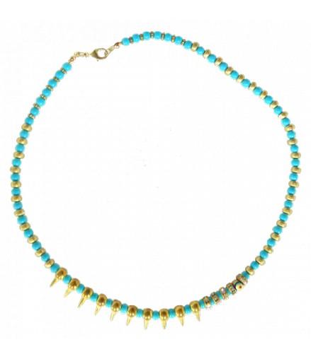collier ras du cou doré turquoise strass oeil