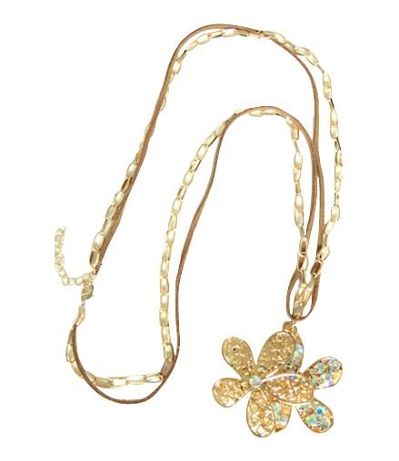 collier lacet chaine dorée et fleur