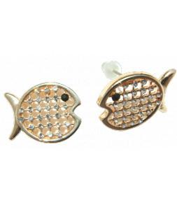 Boucles d'oreilles poissons dorés, _il strass noir