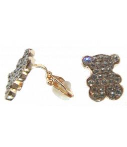 Boucles d'oreilles oursons dorées, CLIPS, strass