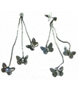 Boucles d'oreilles papillons anthracite et strass