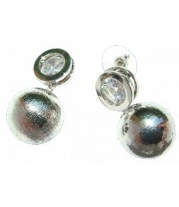 Boucles d'oreilles strass cerclé métal argenté, pendant perle argenté