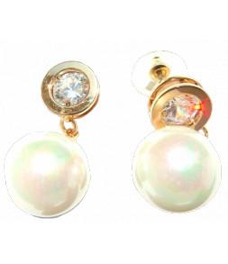 Boucles d'oreilles strass cerclé métal doré, pendant perle blanc nacré