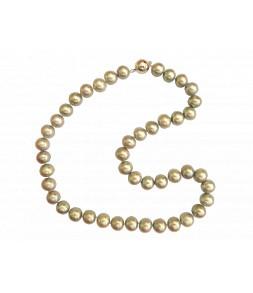 Collier véritables perles de culture d'eau douce d'Asie grises fermoir aimant