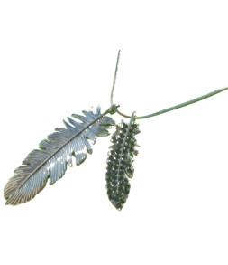 Sautoir plumes métal argenté