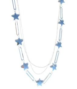 Sautoir étoiles argentées