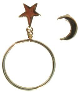 Etoile dorée pendant anneaux, duo lune