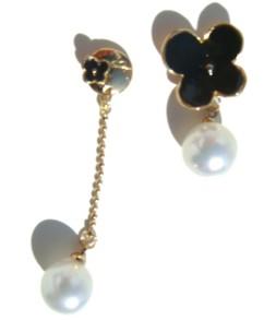 Duo doré trèfle perle et pendant perle