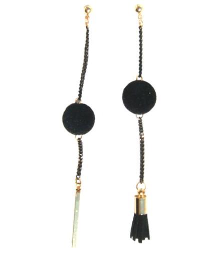 Pompons noirs et monture dorée