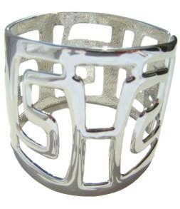 Large bracelet labyrinthe argenté