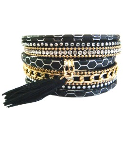 Bracelet manchette aimant noir et pompon