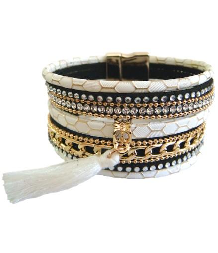 Bracelet manchette aimant blanc et pompon