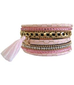 Bracelet manchette aimant rose et pompon