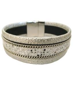 Bracelet manchette aimant effet serpent blanc argent