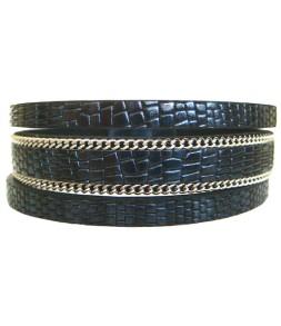 Bracelet manchette aimant effet serpent bleu nuit