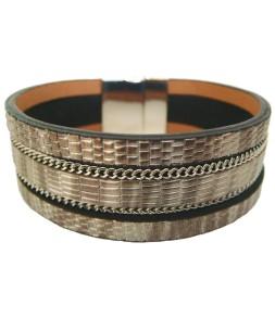 Bracelet manchette aimant effet serpent gris argent