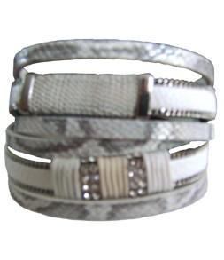 Bracelet manchette aimant double tour effet serpent blanc et gris argent
