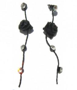 Boucles d'oreilles roses noires et strass