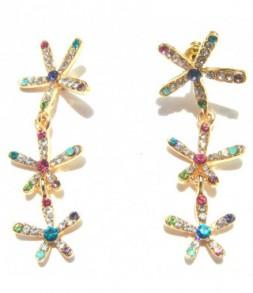Boucles d'oreilles fleurs dorées et strass couleur