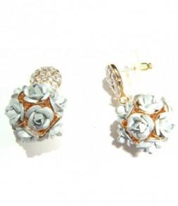 Boucles d'oreilles dorées strass, pendant roses grises