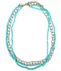 Chaine et perles turquoises