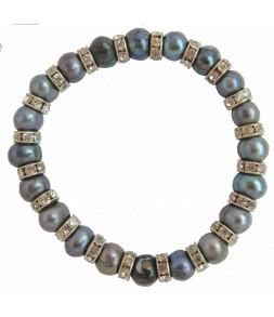 Bracelet élastique, veritables perles de culture d'eau douce et strass