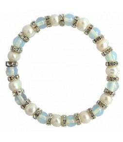 Bracelet élastique, veritables perles de culture d'eau douce blanches, perles de lune et strass