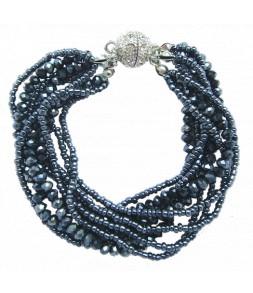 Bracelet mutirangs perles de verre, fermoir aimant strassé