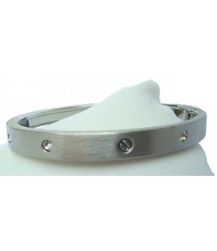 Bracelet articulé argenté poli et strass