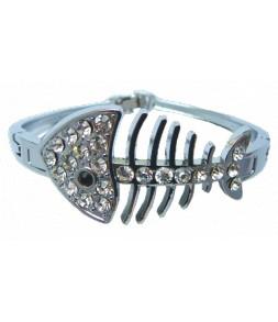 Bracelet rigide articulé poisson argenté et strass