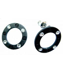 Cercles noirs et petits strass
