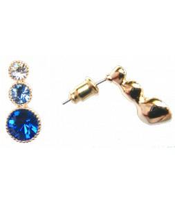 Boucles d'oreilles dorées et strass bleus