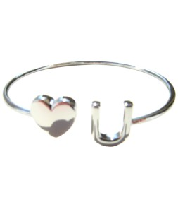 Bracelet ouvert Love U argenté