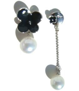 Duo argenté trèfle perle et pendant perle
