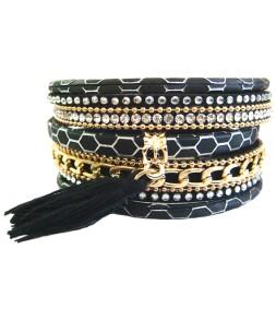 bracelet strass noirs fermoir aimant